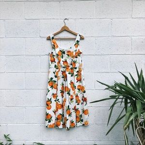 Chetta B Fit & Flare Dress with Oranges